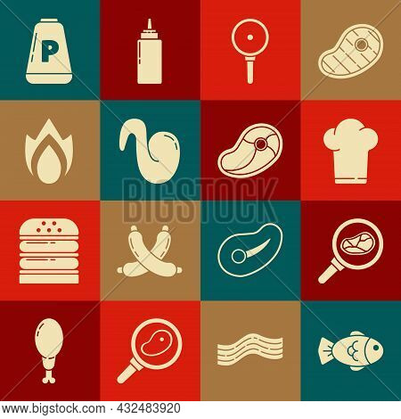 Set Fish, Steak Meat In Frying Pan, Chef Hat, Frying, Fried Chicken Wing, Fire Flame, Pepper And Ico