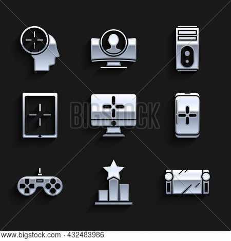 Set Computer Monitor, Star, Portable Video Game Console, Smartphone And Playing In, Gamepad, Tablet,
