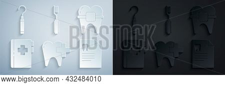 Set Dental Clinic For Dental Care Tooth, Teeth With Braces, Clipboard Card, Toothbrush And Explorer