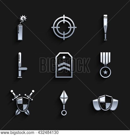 Set Chevron, Japanese Ninja Shuriken, Shield, Military Reward Medal, Medieval Shield With Crossed Sw