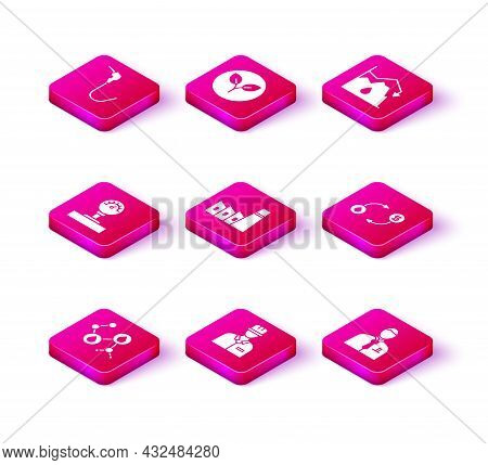 Set Molecule Oil, Oilman, Gauge Scale, Industrial Factory Building, Businessman Stock Market Trader,