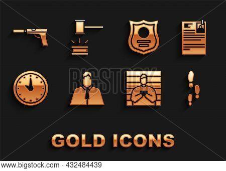 Set Lawyer, Attorney, Jurist, Lawsuit Paper, Footsteps, Suspect Criminal, Clock, Police Badge, Pisto