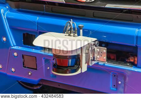 2d Lidar Sensor On The Front Bumper Of An Unmanned Vehicle, Close-up. An Part Of The Self-driving Sy