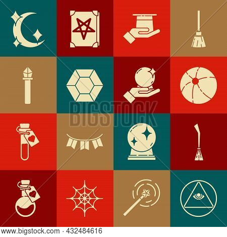 Set Masons, Witches Broom, Beach Ball, Magician Hat In Hand, Stone, Staff, Moon Stars And Icon. Vect