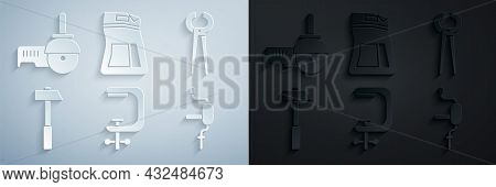 Set Clamp And Screw Tool, Pincers Pliers, Hammer, Hand Drill, Cement Bag And Angle Grinder Icon. Vec