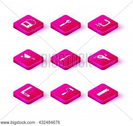 Set Corner Ruler, Paint Roller Brush, Wheelbarrow, Screwdriver, Ruler, Leaf Garden Blower, Clamp And