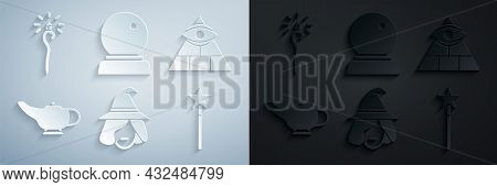 Set Witch, Masons, Magic Lamp Or Aladdin, Wand, Ball And Staff Icon. Vector