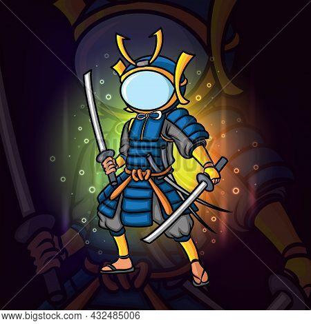 The Brave Samurai Man With The Astronaut Helmet Esport Mascot Design Of Illustration