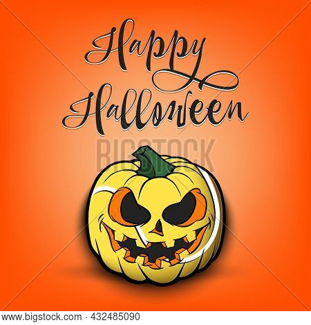 Happy Halloween. Tennis Ball As Pumpkin