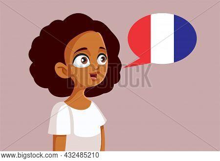 Teen Girl Learning French Vector Cartoon Illustration