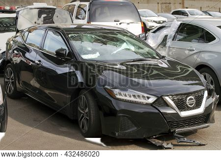 Bronx, New York, Usa - May 18, 2020: Damaged Vehicle Parked In Lot Not Far From Police Station.