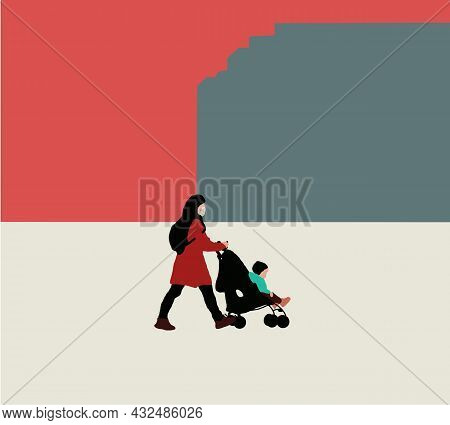 Mother Walks With A Stroller In A City Park. Travel During Pandemic Concept. Simple Flat Vector Illu