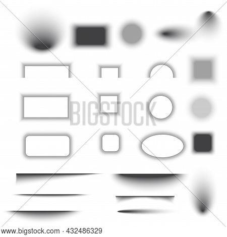 Transparent Geometric Grey Shadow Effects Set. Soft Shade. Decoration Element. Line Art. Vector Illu