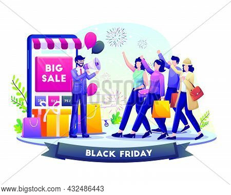 Businessman Hold Megaphone Refers People To Shop On Black Friday Big Sale Holiday Shopping. Vector I