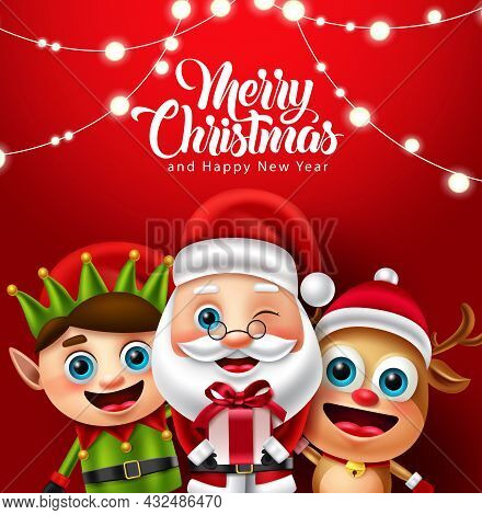 Christmas Character Vector Design. Merry Christmas Text With Reindeer, Elf And Santa Claus Character