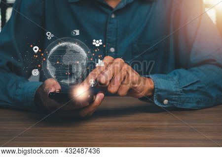 Businessman Using Smart Phone With Business Global Internet Connection Application Technology And Di