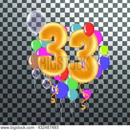 Happy Birthday Thirty Three Year Fun Celebration Anniversary Greeting Card With Number, Balloon On B