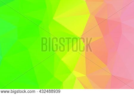 Abstract Triangulation Geometric Green Yellow And Orange Background ,application And Web Origami Sty
