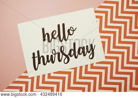 Hello Thursday Card Typography Text On Pink Background