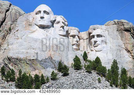 September 8, 2021 In Mt Rushmore, Sd:  Sculpted Heads On Granite Rocks Of Four Past Presidents Taken