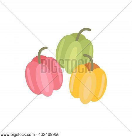 Illustration Set Of Bulgarian Pepper, Autumn Vegetables