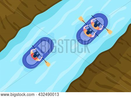 Rafting Background Flat Cartoon Vector Illustration With People Do Activity Water Sports In The Midd