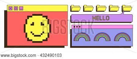 Retro User Interface. Pixel Emoticon, Old Radio. Back To 1980s, Bright Pictures For Children, Icons,