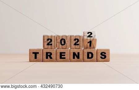 Wooden Cube Block Flipping 2021 To 2022 Trends For Business Planing And Marketing By 3d Render.