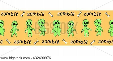 Edging, Ribbon, Border With Cute Outline Zombies. Vector Seamless Pattern, Divider, Ornament, Decora