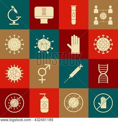Set No Handshake, Dna Symbol, Virus, Blood Test Virus, Microscope And Medical Rubber Gloves Icon. Ve