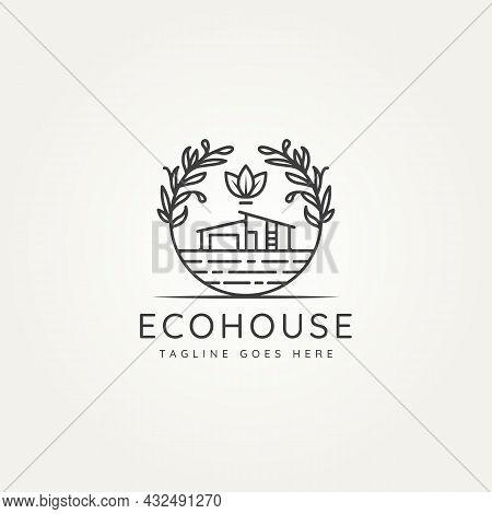 Ecohouse Nature Architecture Minimalist Line Art Emblem Logo Icon Template Vector Illustration Desig