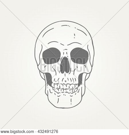 Human Skull Anatomy Hand Draw Line Art Icon Logo Template Vector Illustration Design. Spooky Skull H