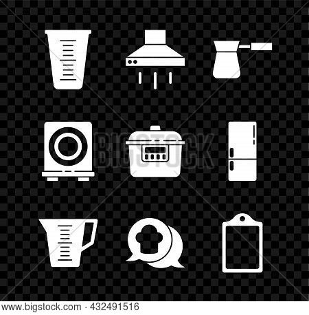 Set Measuring Cup, Kitchen Extractor Fan, Coffee Turk, Chef Hat Speech Bubble, Cutting Board, Electr