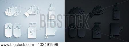 Set Essential Oil Bottle, Flip Flops, Sauna Mittens, Lotus Flower And Icon. Vector