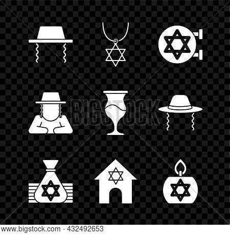 Set Orthodox Jewish Hat, Star Of David Necklace On Chain, Jewish Synagogue, Money Bag, Burning Candl