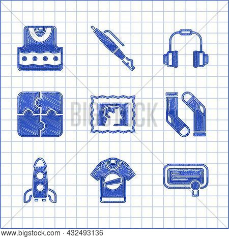 Set Postal Stamp, T-shirt, Certificate Template, Socks, Rocket Ship, Piece Of Puzzle, Headphones And