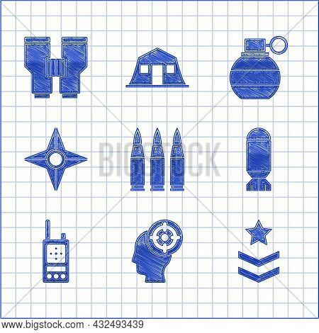 Set Bullet, Target Sport, Military Rank, Aviation Bomb, Walkie Talkie, Japanese Ninja Shuriken, Hand
