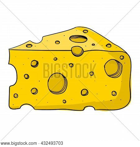 Vector Illustration Of Cheese Using Shades Of Yellow And Strokes.
