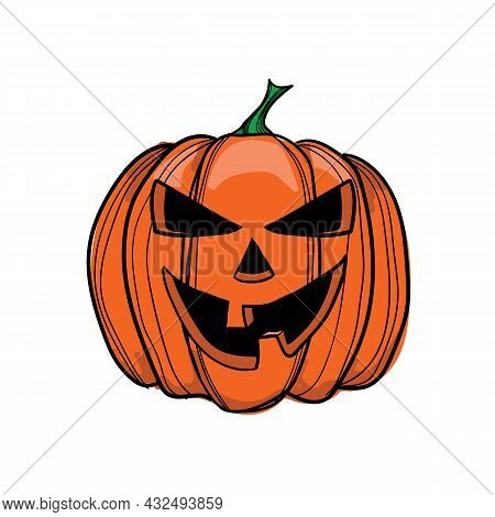 Vector Illustration Jack-o-lantern With Two Teeth, Can Be Used As Halloween Decoration