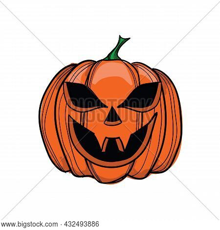 Vector Illustration Jack-o-lantern With Two Fangs, Can Be Used As Halloween Decoration