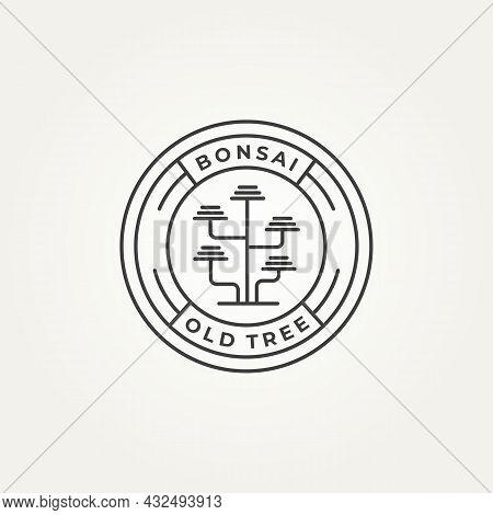 Bonsai Old Tree Minimalist Line Art Icon Logo Badge Template Vector Illustration Design. Simple Mode