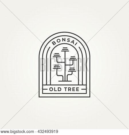 Bonsai Minimalist Line Art Icon Logo Badge Template Vector Illustration Design. Simple Modern Moyogi