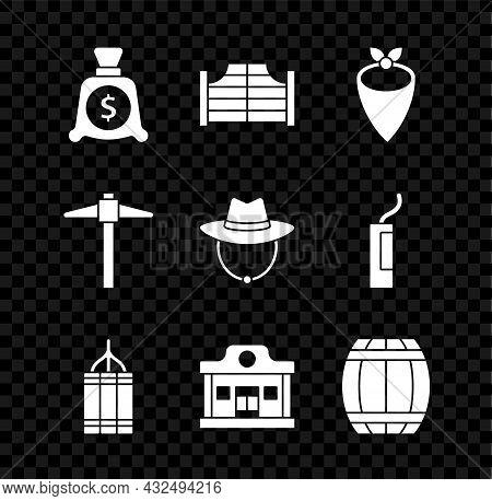 Set Money Bag, Saloon Door, Cowboy Bandana, Dynamite Bomb, Wild West Saloon, Gun Powder Barrel, Pick
