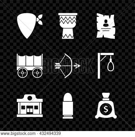 Set Cowboy Bandana, Drum, Wanted Western Poster, Wild Saloon, Bullet, Money Bag, Covered Wagon And B