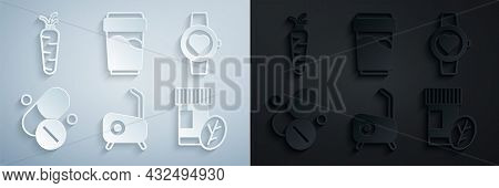 Set Stationary Bicycle, Smart Watch, Vitamin Pill, Glass With Water And Carrot Icon. Vector