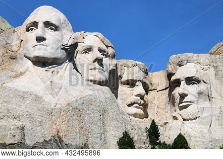 September 8, 2021 In Mt Rushmore, Sd:  Sculpted Faces Of Four Past Presidents Completed During 1941
