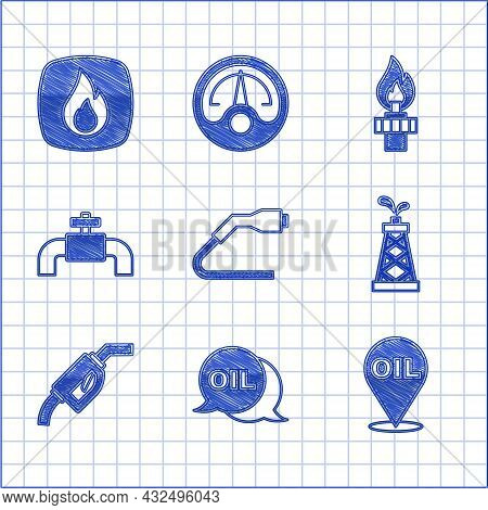 Set Electrical Cable Plug Charging, Word Oil, Refill Petrol Fuel Location, Oil Rig, Gasoline Pump No