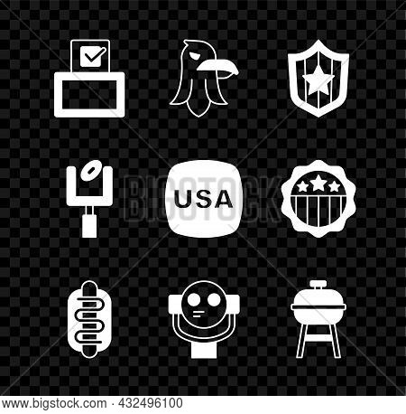 Set Vote Box, Eagle, Shield With Stars, Hotdog Sandwich, Tourist Binoculars, Barbecue Grill, America