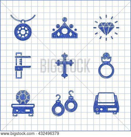 Set Christian Cross, Earrings, Electronic Jewelry Scales, Diamond Engagement, Gem Stone, Calliper Or