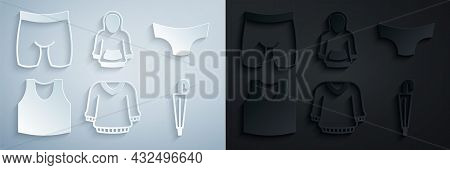 Set Sweater, Men Underpants, Undershirt, Umbrella, Hoodie And Cycling Shorts Icon. Vector